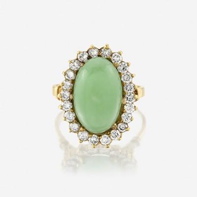 Lot 151 - A jadeite jade, diamond, and eighteen karat gold ring