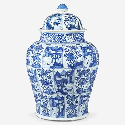 Lot 71 - A Chinese blue and white porcelain large jar and cover