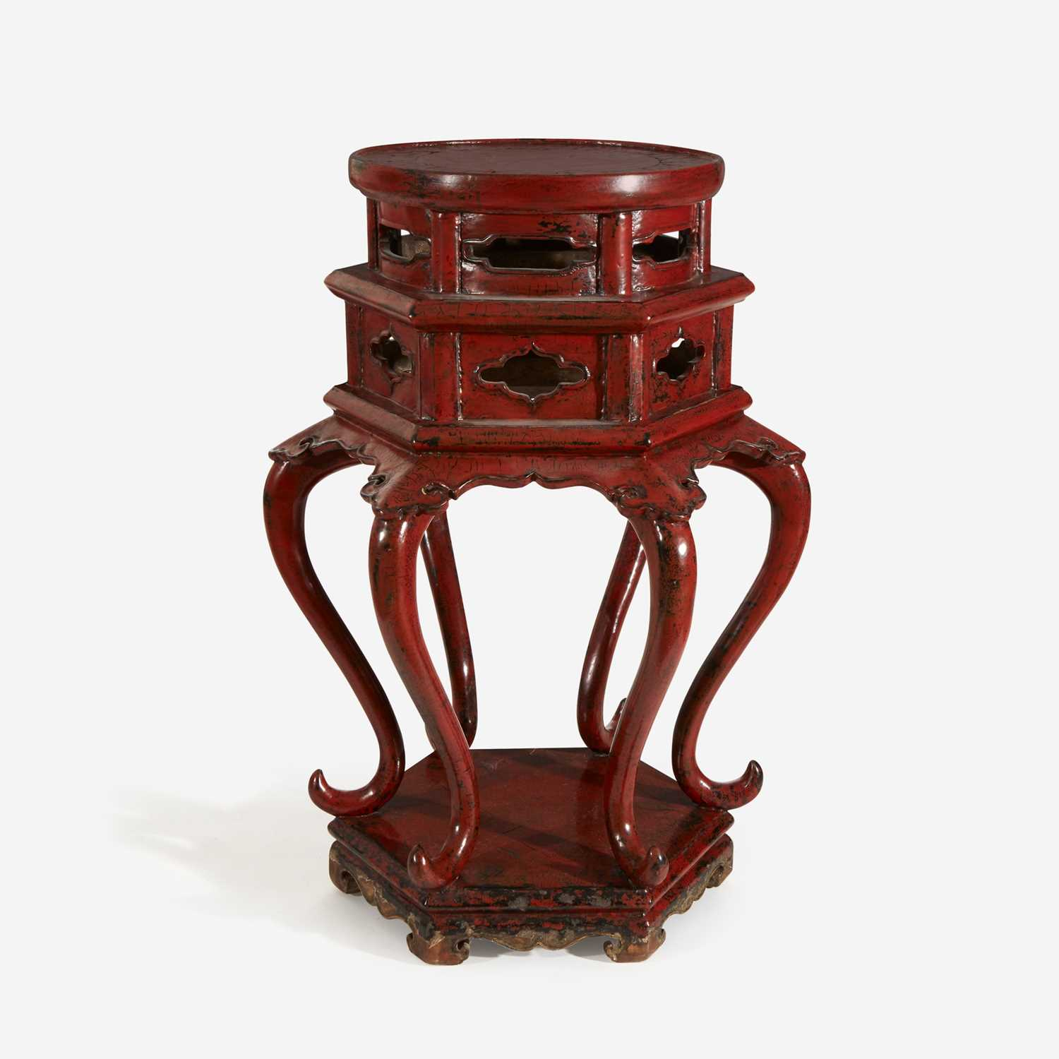 Lot 33 - A Chinese or Japanese red lacquered Ming-style hexagonal incense stand