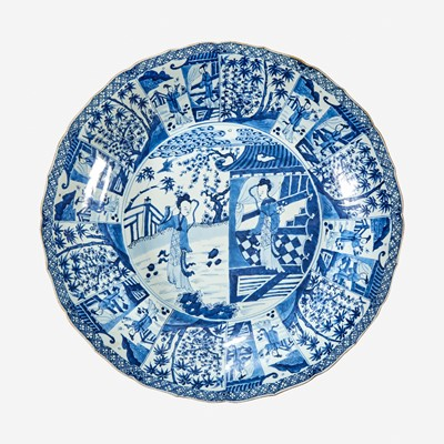 """Lot 45 - A large Chinese blue and white porcelain """"Meiren"""" charger"""