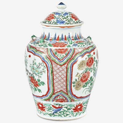 Lot 77 - A Chinese wucai-decorated porcelain jar and cover