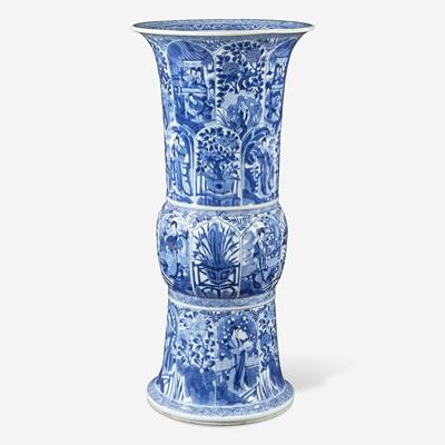 Lot 39 - A large Chinese blue and white porcelain gu-form beaker vase