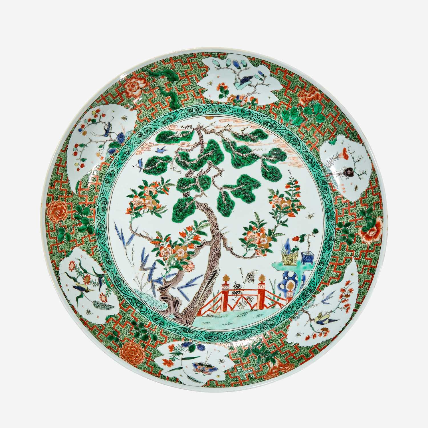 """Lot 46 - A large Chinese famille verte-decorated porcelain """"Three Friends"""" dish"""