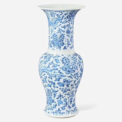 """Lot 61 - A Chinese blue and white porcelain """"Phoenix-tail"""" vase"""