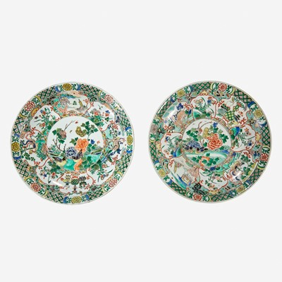 Lot 50 - Two similar Chinese famille verte-decorated porcelain circular dishes