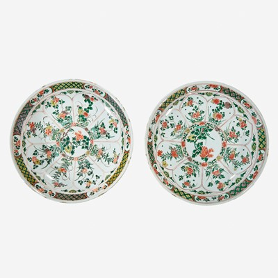 Lot 40 - Two similar Chinese famille verte-decorated porcelain large dishes