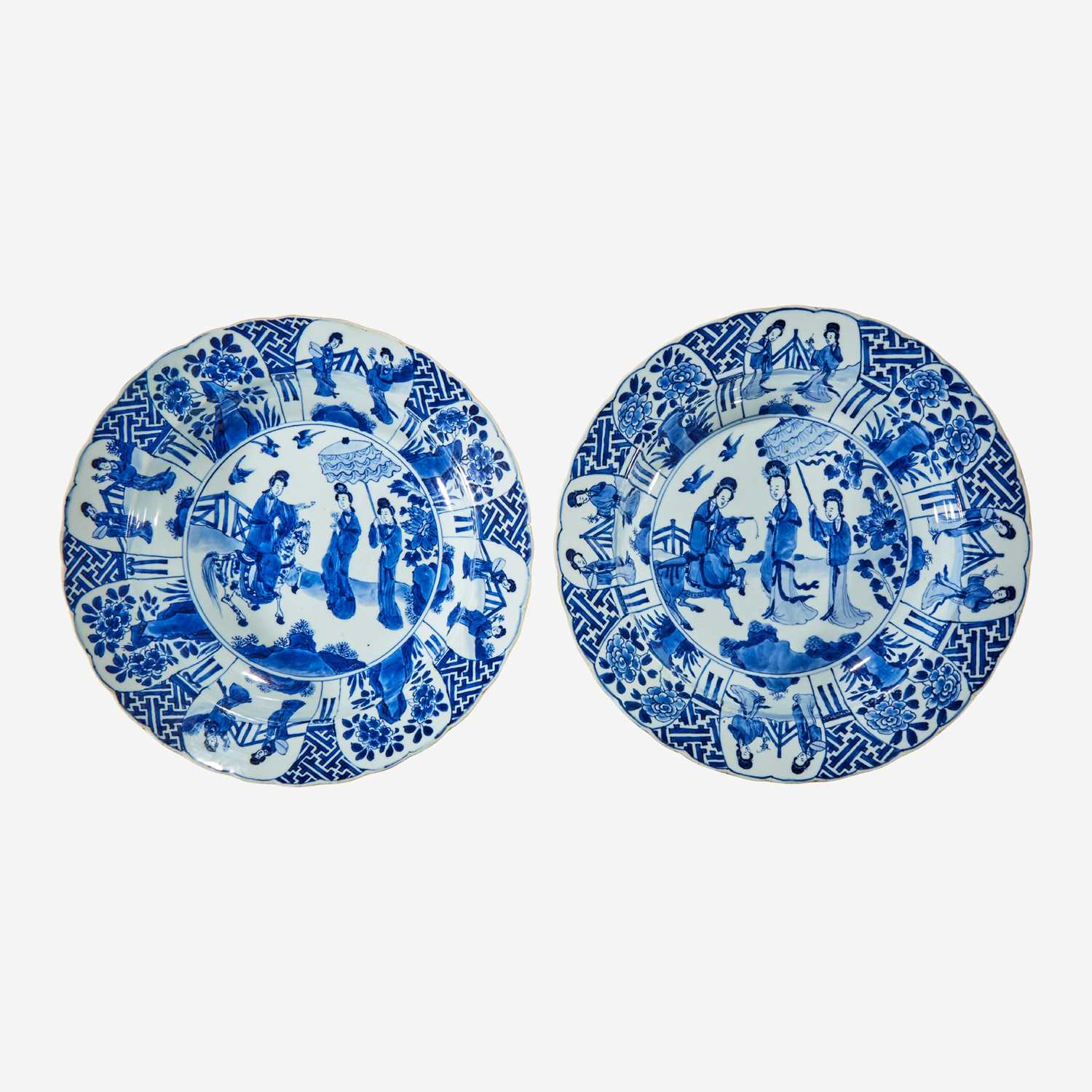 Lot 47 - A pair of Chinese blue and white porcelain basins