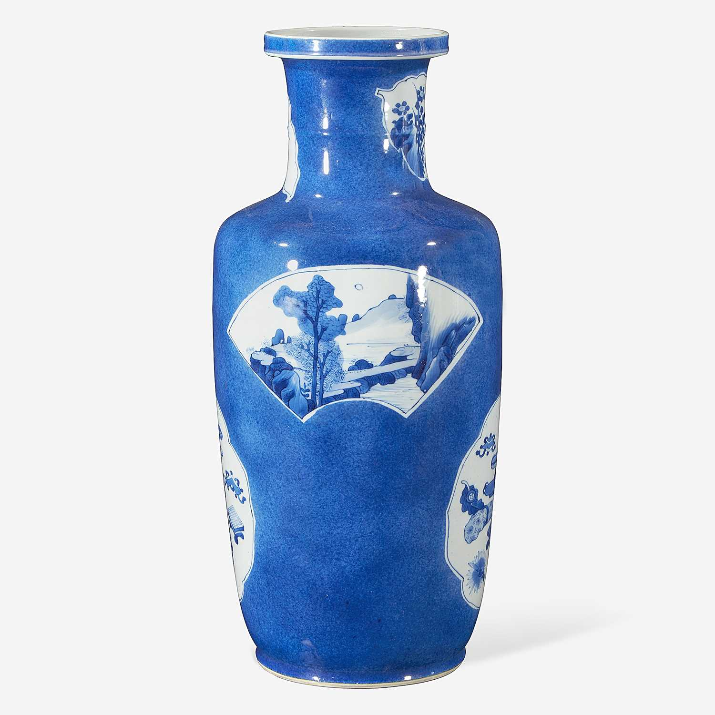 Lot 72 - A Chinese powder blue-glazed porcelain rouleau vase