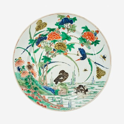 """Lot 64 - A Chinese famille verte-decorated porcelain """"Waterfowl"""" dish"""