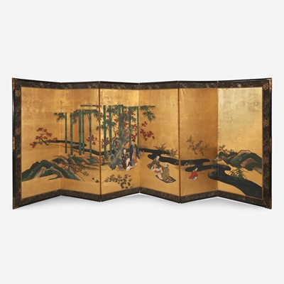 """Lot 79 - A pair of Japanese six-panel screens: """"The Seven Scholars of the Bamboo Grove"""""""