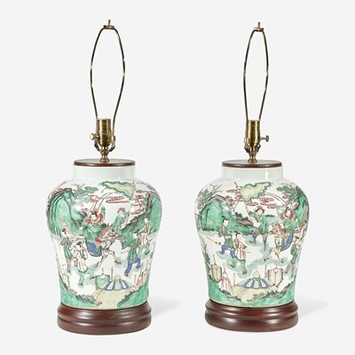 Lot 67 - A pair of Chinese famille verte-decorated porcelain jars mounted as lamps