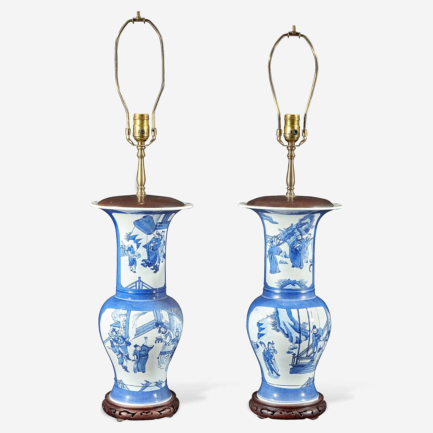 "Lot 60 - A pair of Chinese blue and white powder-blue ground ""Phoenix-tail"" vases mounted as lamps"