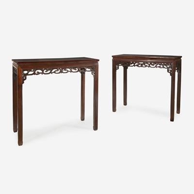 Lot 69 - A pair of Chinese hardwood rectangular side tables