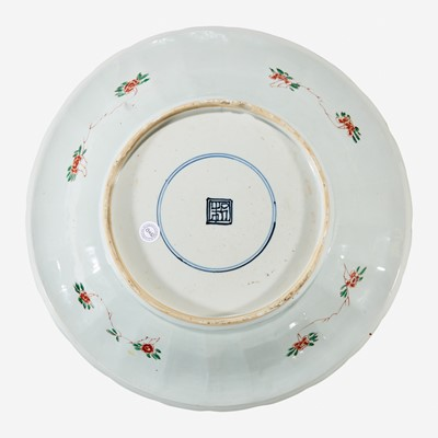 Lot 65 - A Chinese famille verte-decorated porcelain lobed dish