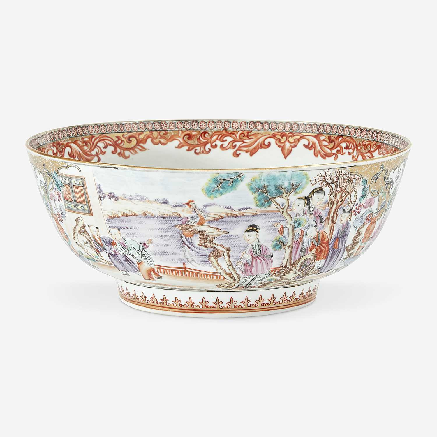 Lot 66 - A Chinese export famille rose-decorated porcelain figural punchbowl