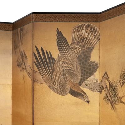 "Lot 80 - A Japanese six-panel ""Eagle and Monkey"" screen"