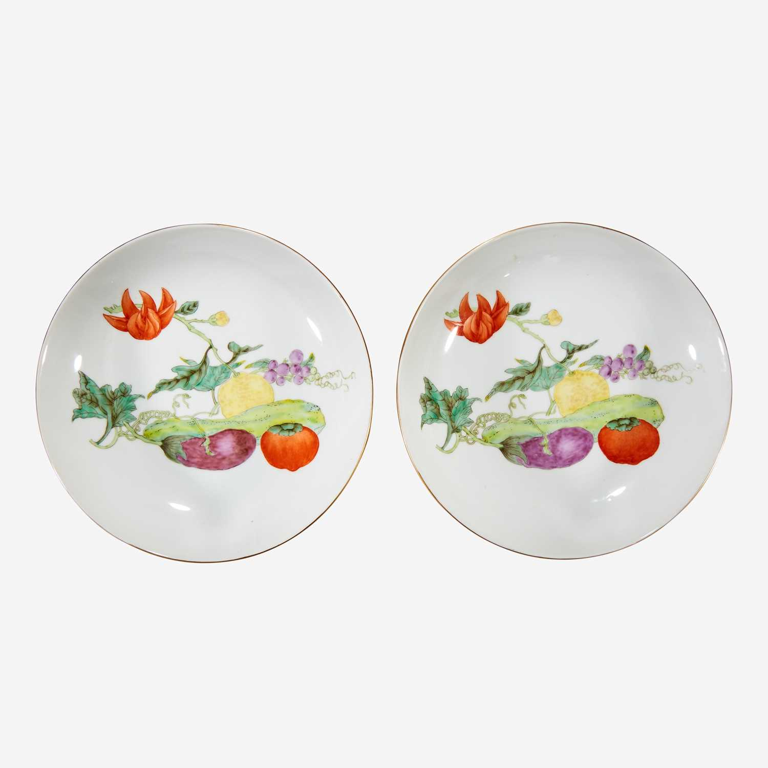 """Lot 75 - A pair of Chinese porcelain """"Vegetable"""" dishes"""