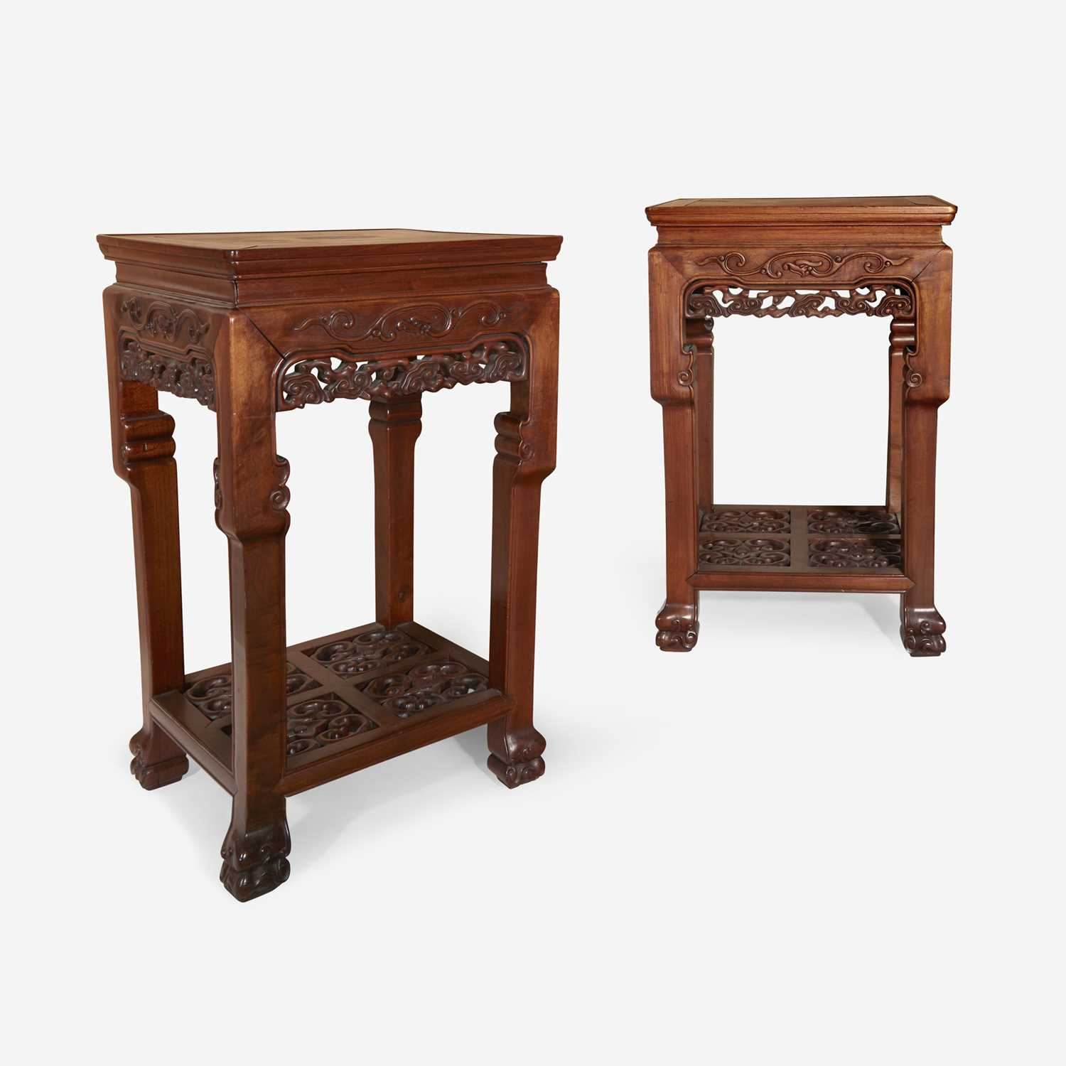 Lot 76 - A pair of Chinese hardwood square side tables
