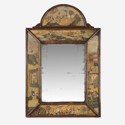 Lot 17 - A Queen Anne style needlework and burl walnut mirror