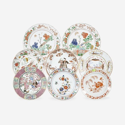 Lot 104 - An assorted group of eight Chinese Export porcelain figural and Famille Verte plates/dishes