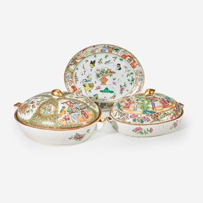 Lot 103 - A group of eleven assorted Chinese Export porcelain Rose Medallion and Rose Mandarin tablewares
