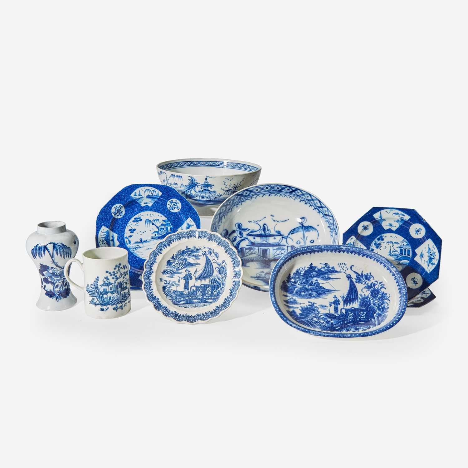 Lot 80 - A group of ten English soft paste porcelain blue and white tablewares