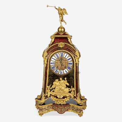 Lot 19 - A Louis XIV Ormolu-Mounted Brass-Inlaid Red Tortoiseshell Boulle Marquetry Mantel Clock on Stand*