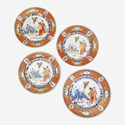 Lot 79 - Four Chinese Imari Plates in the 'Dames au Parasol' Pattern