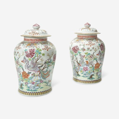 Lot 50 - A Large Pair of Samson Chinese Export Style Famille Rose Covered Urns