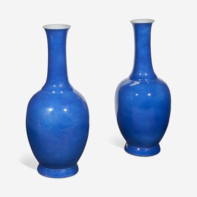 Lot 72 - A Pair of Powder Blue Glazed Baluster Vases