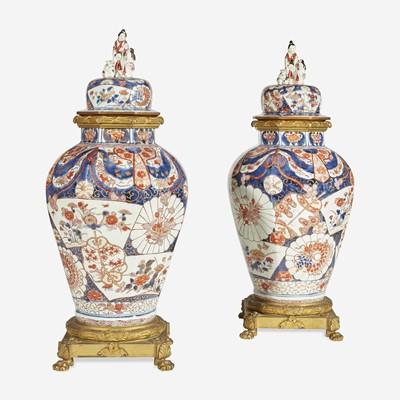 Lot 74 - A Pair of Gilt-Bronze Mounted Imari Covered Jars