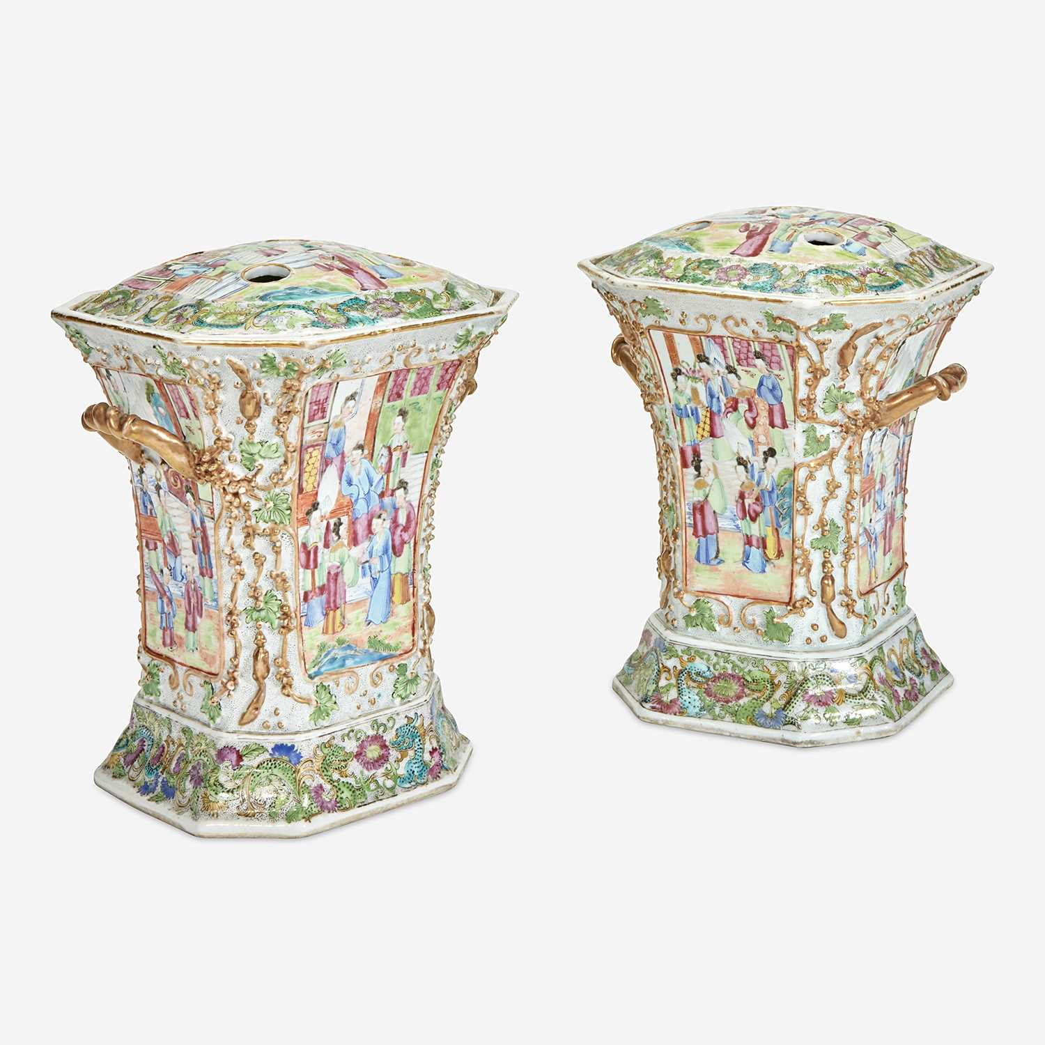 Lot 80 - A Pair of Chinese Export Famille Rose Porcelain Covered Bough Pots