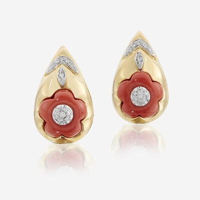Lot 147 - A pair of eighteen karat gold, coral, and diamond earrings, Leva