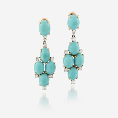 Lot 142 - A pair of turquoise, diamond, and eighteen karat gold earrings