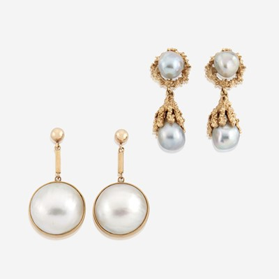 Lot 127 - Two pairs of cultured pearl and gold earrings