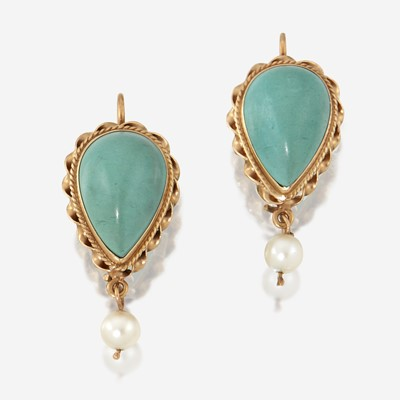 Lot 141 - A pair of turquoise, cultured pearl, and fourteen karat gold earrings