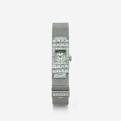 Lot 123 - An Art Deco diamond and platinum bracelet watch