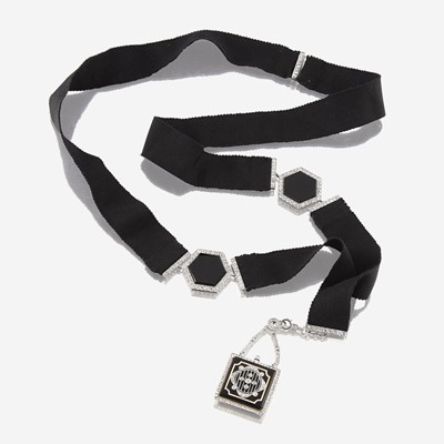 Lot 124 - An Art Deco diamond, enamel, gros grain, and platinum necklace with pendant watch, Dreicer & Co.