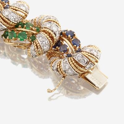Lot 93 - A diamond, sapphire, emerald, and eighteen karat gold bracelet, Tiffany & Co.