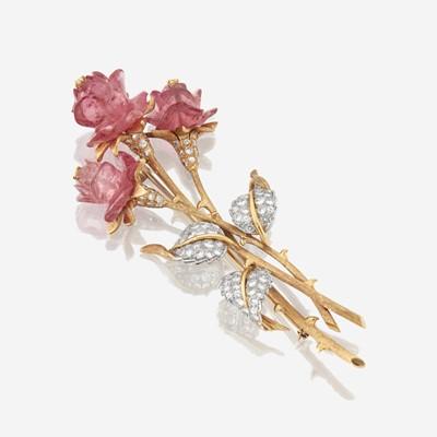 Lot 163 - An eighteen karat gold, diamond, and pink tourmaline brooch