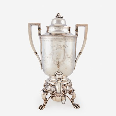 Lot 176 - A Classical silver hot water urn
