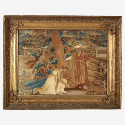 Lot 146 - A silk embroidered needlework picture depicting Ruth and Boaz
