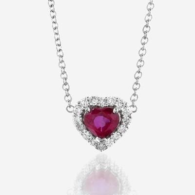 Lot 76 - A Burma ruby, diamond, and eighteen karat white gold pendant with chain
