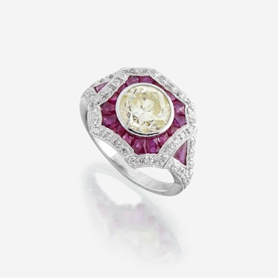 Lot 170 - A colored diamond, diamond, ruby, and platinum ring