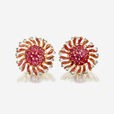 Lot 81 - A pair of eighteen karat gold, ruby, and diamond earrings