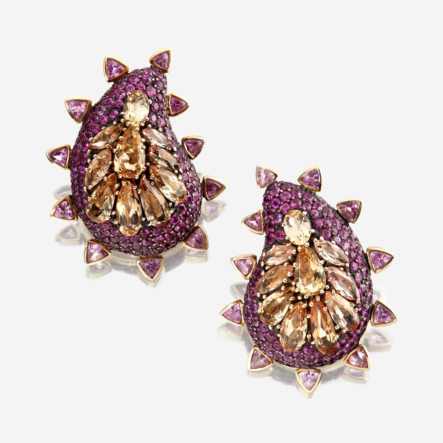 Lot 67 - A pair of precious topaz, ruby, and pink tourmaline earrings, Marilyn Cooperman