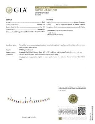 Lot 51 - An eighteen karat gold, colored sapphire, and rock crystal necklace, Bulgari