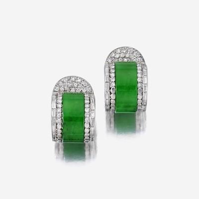 Lot 138 - A pair of jadeite jade and diamond earrings