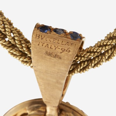 Lot 62 - An eighteen karat gold, opal, ruby, emerald, and sapphire pendant, Buccellati and M. Buccellati