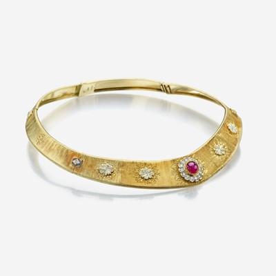 Lot 63 - An eighteen karat gold, ruby, and diamond necklace, Buccellati